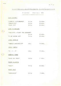 VAF 1980 Catalogue Castelli Sonnabend Video Basel 1974 Masi