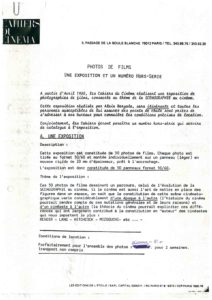 VAF 1980 Programme Cahiers Cinema exposition Photo Films Masi