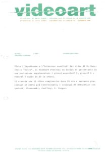 VAF 1981 Communique Presse Projection supplementaire Dolce Baruchello Masi
