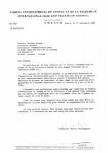 VAF 1983 19830927 Fulchignoni Bianda Nomination Unesco Masi