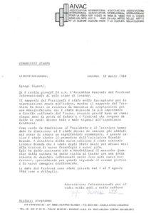 VAF 1984 Communique Presse Annonce edition 1984 Masi
