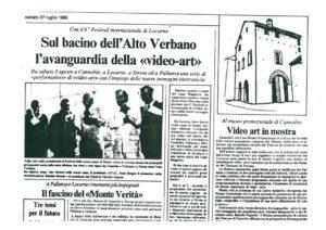 VAF 1985 Presse 19850727 Avanguardia della videoart Masi