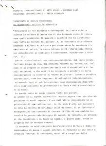 VAF 1985 colloque Cocuccioni Enrico un manifesto critico in videoclip PP525 1799