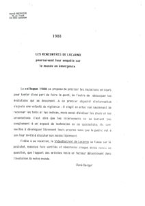 VAF 1988 Berger Rencontres Locarno Masi