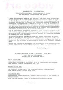 VAF 1988 Programme Tables Rondes Masi