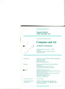 VAF 1989 Lugano academy electronic arts Computer Art 19890807 18 Booklet PP525 1803