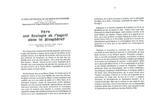 VAF 1990 Grinevald Ecologie Esprit Biosphere Masi