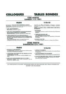VAF 1991 Programme Colloques Masi