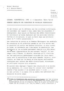 VAF 1992 Monnier Raball Seminaire formateurs nouvelles technologies Masi