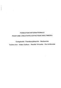 VAF 1993 Fondation internationale Creativite Esthetique multimedia