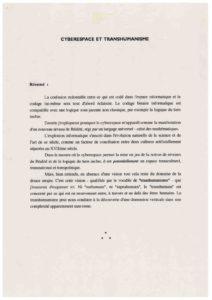 VAF 1995 Nicolescu Cyberespace Tranhumanisme Masi