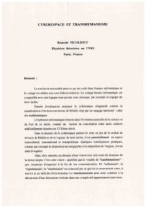 VAF 1995 Nicolescu cyberespace transhumanisme 19950715 Masi