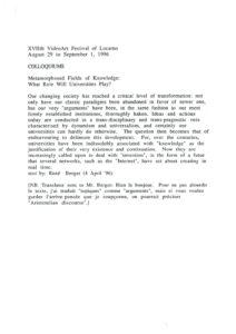 VAF 1996 Colloques Metamorphoses Savoir Berger 19960404 Masi