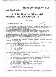 VAF 1997 Berger Notes reflexion festivals intention VAF 199708 PP525 1812