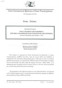 VAF 1997 Revue Presse Congres Universite Futur ciret Nicolescu Masi