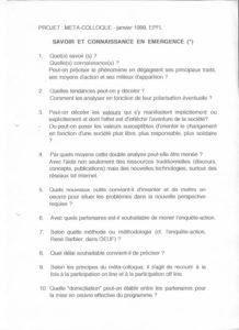 VAF 1998 Metacolloque savoir connaissance Emergence Projet 199901 PP525 1813