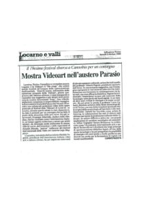 VAF 1998 Presse 19981005 Mostra Videoart austero Parasio Masi