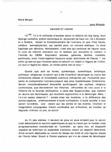 VAF 2001 Berger Savoirs Visions Pour Rinaldo PP525 1815