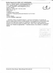 VAF 2001 Correspondance Deces Rinaldo Bianda PP525 1815
