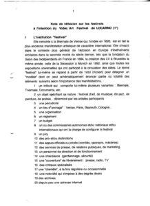 VAF Berger Note intention sur les festivals Locarno 1997 PP525 983